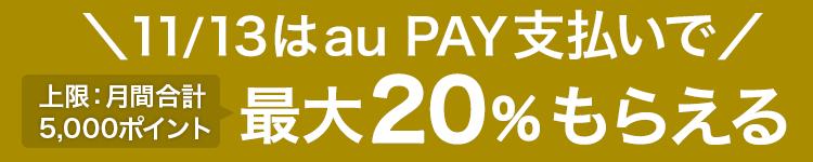 \11/13はau PAY支払いで/最大20%もらえる 上限:月間合計5,000ポイント