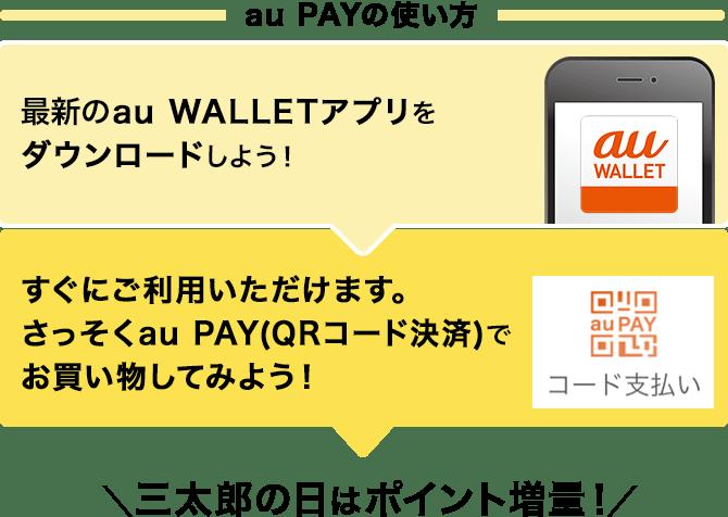 最新のau WALLETアプリをダウンロードしよう!すぐにご利用いただけます。さっそくau PAY(QRコード決済)で買い物してみよう!
